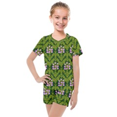 Pattern Nature Texture Heather Kids  Mesh Tee And Shorts Set