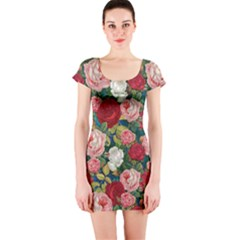Roses Repeat Floral Bouquet Short Sleeve Bodycon Dress