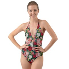 Roses Repeat Floral Bouquet Halter Cut Out One Piece Swimsuit
