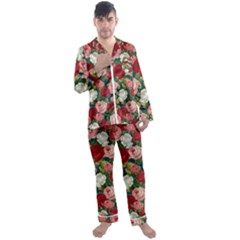 Roses Repeat Floral Bouquet Men s Satin Pajamas Long Pants Set