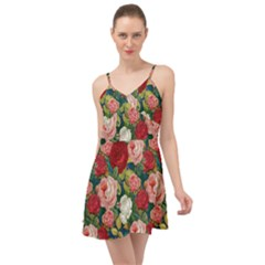Roses Repeat Floral Bouquet Summer Time Chiffon Dress