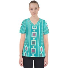 Non Seamless Pattern Background Blue Women s V Neck Scrub Top