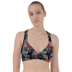 Full Moon Silhouette Tree Night Sweetheart Sports Bra