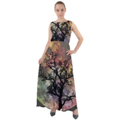 Full Moon Silhouette Tree Night Chiffon Mesh Maxi Dress