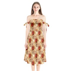 Scrapbook Floral Background Vintage Shoulder Tie Bardot Midi Dress