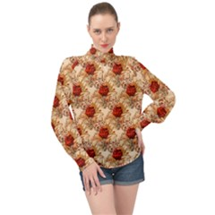 Scrapbook Floral Background Vintage High Neck Long Sleeve Chiffon Top