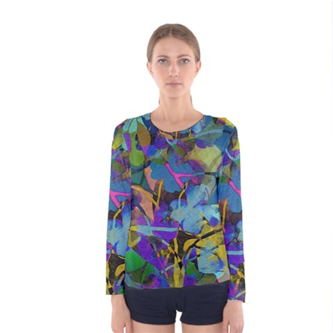 Flowers Abstract Branches Women s Long Sleeve Tee by Pakrebo