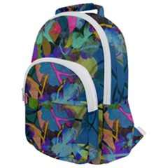 Flowers Abstract Branches Rounded Multi Pocket Backpack