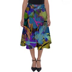 Flowers Abstract Branches Perfect Length Midi Skirt