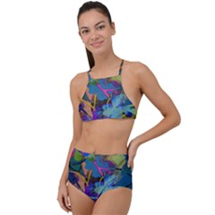 Flowers Abstract Branches High Waist Tankini Set by Pakrebo