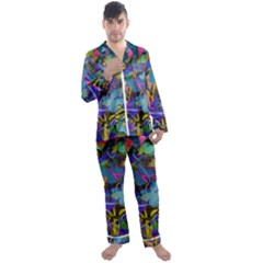 Flowers Abstract Branches Men s Satin Pajamas Long Pants Set