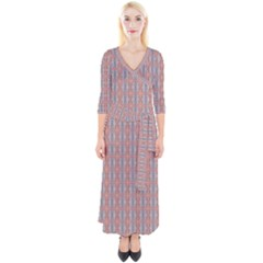 Pink Graphics Pattern Ornament Quarter Sleeve Wrap Maxi Dress