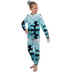 Wonderful Unicorn Silhouette In The Night Kids  Long Sleeve Set