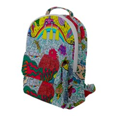 Supersonic Key West Gypsy Blast Flap Pocket Backpack (large) by chellerayartisans