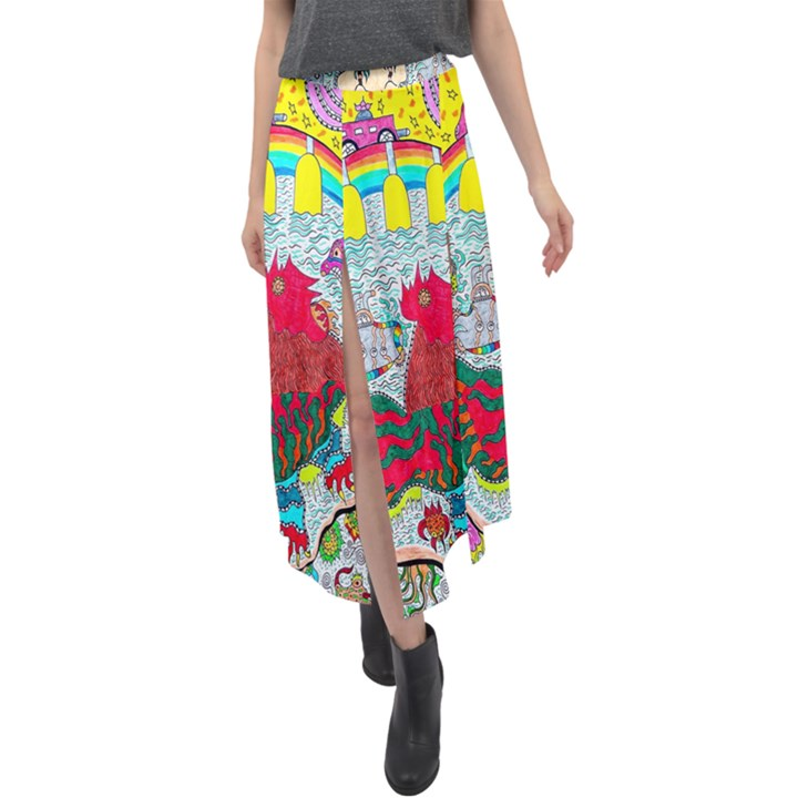 Supersonic Key West Gypsy Blast Velour Split Maxi Skirt