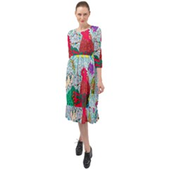 Supersonic Key West Gypsy Blast Ruffle End Midi Chiffon Dress