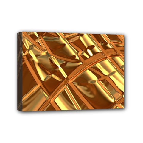 Gold Background Mini Canvas 7  X 5  (stretched)