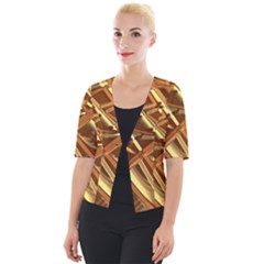 Gold Background Cropped Button Cardigan