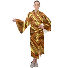 Gold Background Maxi Tie Front Velour Kimono