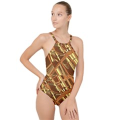 Gold Background High Neck One Piece Swimsuit