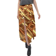 Gold Background Velour Split Maxi Skirt by Alisyart