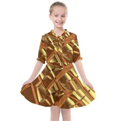 Gold Background Kids  All Frills Chiffon Dress by Alisyart