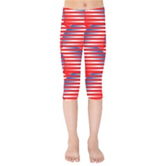 Patriotic Red White Blue Stripes Kids  Capri Leggings  by AnjaniArt