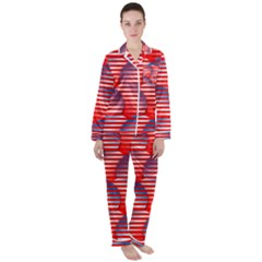 Patriotic Red White Blue Stripes Satin Long Sleeve Pyjamas Set