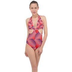 Patriotic Red White Blue Stripes Halter Front Plunge Swimsuit