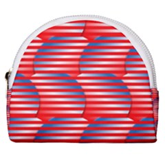 Patriotic Red White Blue Stripes Horseshoe Style Canvas Pouch