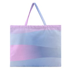Gradient Waves Zipper Large Tote Bag