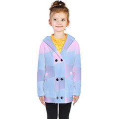 Gradient Waves Kids  Double Breasted Button Coat