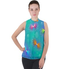 Non Seamless Pattern Blues Bright Mock Neck Chiffon Sleeveless Top