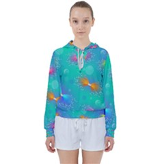 Non Seamless Pattern Blues Bright Women s Tie Up Sweat