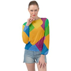 Geometry Nothing Color Banded Bottom Chiffon Top