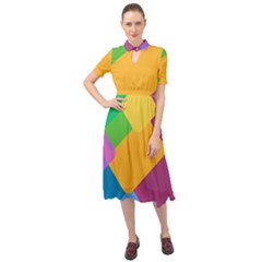 Geometry Nothing Color Keyhole Neckline Chiffon Dress