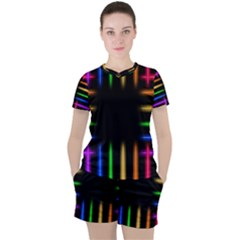 Neon Light Abstract Pattern Women s Tee And Shorts Set