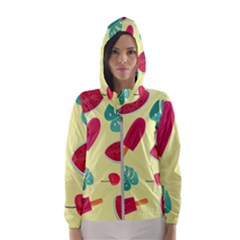 Watermelon Leaves Strawberry Women s Hooded Windbreaker by HermanTelo