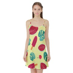 Watermelon Leaves Strawberry Satin Night Slip by HermanTelo