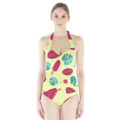 Watermelon Leaves Strawberry Halter Swimsuit by HermanTelo