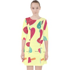 Watermelon Leaves Strawberry Pocket Dress