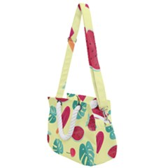 Watermelon Leaves Strawberry Rope Handles Shoulder Strap Bag by HermanTelo
