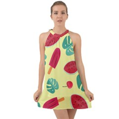 Watermelon Leaves Strawberry Halter Tie Back Chiffon Dress by HermanTelo