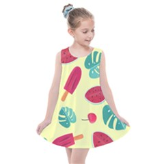 Watermelon Leaves Strawberry Kids  Summer Dress