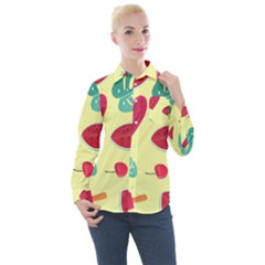 Watermelon Leaves Strawberry Women s Long Sleeve Pocket Shirt