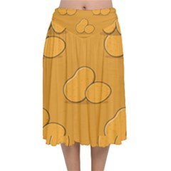 Fresh Potato Root Velvet Flared Midi Skirt by HermanTelo