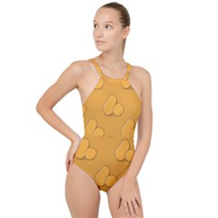 Fresh Potato Root High Neck One Piece Swimsuit