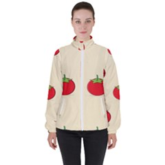 Fresh Tomato Women s High Neck Windbreaker by HermanTelo