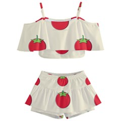 Fresh Tomato Kids  Off Shoulder Skirt Bikini