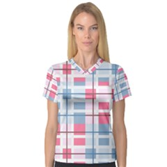 Fabric Textile Plaid V Neck Sport Mesh Tee